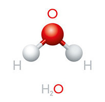 Water particle fromed from two elements: 2 particles of hudrogen and 1 particle of oxygen